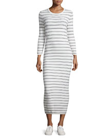 Delissa B Prosecco Striped Midi Slim Dress