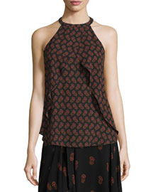 Iggy Draped Silk Dahlia Top, Black/Brown