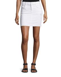 Leila Raw-Hem Denim Pencil Skirt, White Destruct