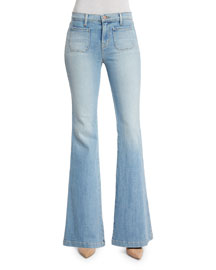 Demi Patch Pocket Flare-Leg Jeans, Beach Line