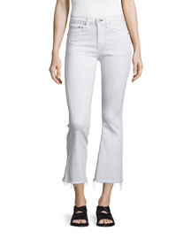 Mid-Rise Cropped Flare-Leg Jeans, Bright White