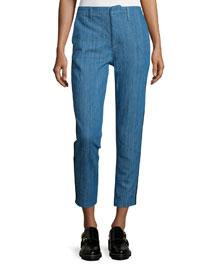 Slim-Leg Cropped Chino Pants, Denim