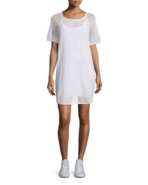 Short-Sleeve Mesh Shift Dress, White