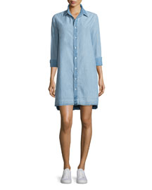 Beau Button-Front Denim Shirtdress, Kenton