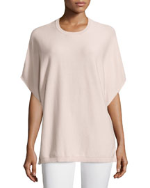 Butterfly-Sleeve Crewneck Top