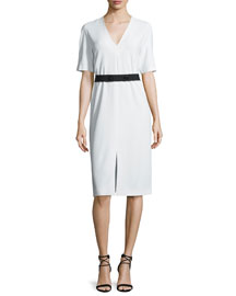 Phoebe Belted Crepe V-Neck Dress, Ivory
