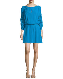 Abbey 3/4-Sleeve Blouson Dress, Blue