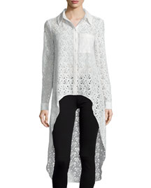 The Lace Caravan Collared High-Low Blouse, Swan