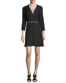 Laced 3/4-Sleeve Silk Mini Dress, Black