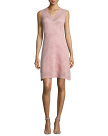Zigzag V-Neck Sleeveless Dress, Blush