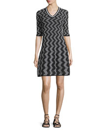 Rod Zigzag Short-Sleeve V-Neck Dress, Black
