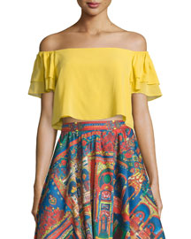 Whit Cropped Off-the-Shoulder Top, Yellow