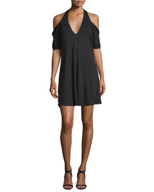 Cold-Shoulder Modal Mini Dress, Black