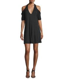 Cold-Shoulder Modal Mini Dress, Black