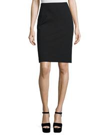 Solid Ponte Pencil Skirt, Black