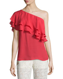 Silk One-Shoulder Flutter Blouse, Battle Red