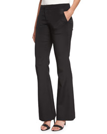 Silk Satin Flare Pants, Black
