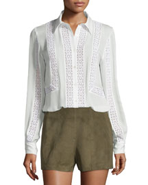 Lace-Trim Silk Georgette Blouse, Swan