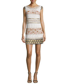 Cap-Sleeve Beaded Lace Mini Dress, Antique Ivory