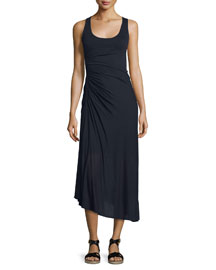 Lexie Ruched Jersey Midi Dress, Midnight