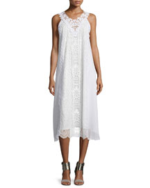 Sleeveless Lace A-line Midi Dress