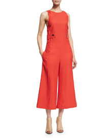 Sleeveless Cropped Wide-Leg Jumpsuit, Flamenco