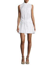 Sleeveless Tie-Waist Poplin Shirtdress, Soft White