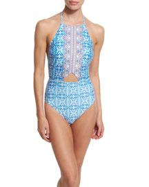 Seductress Seaside Tile Halter One-Piece Swimsuit