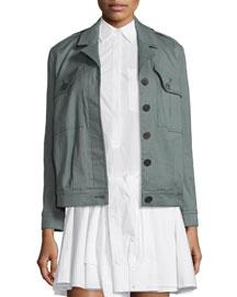 Linen-Blend Utility Jacket, Army