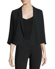 Claudine 3/4-Sleeve Short Jacket, Black