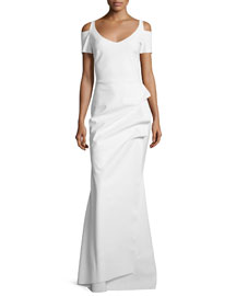 Julia Cold-Shoulder Ruched Gown