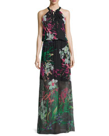 Cayla Halter-Neck Floral-Print Maxi Dress, Black