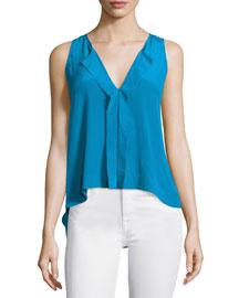 Jewel Sleeveless Silk Top, Blue