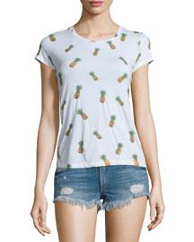 Robin Cap-Sleeve Embellished-Pineapple Tee, Multicolor