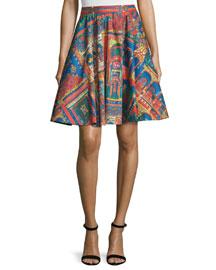 Earla High-Waist Havana Town Skirt, Multicolor