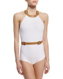 Belt-Trim High-Neck One-Piece Swimsuit