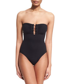 Barbell-Trim Solid One-Piece Bandeau Swimsuit