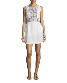 Gamasa Sleeveless Embroidered Dress, White