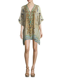 Lace-Up Short Caftan Dress, Granada Dream