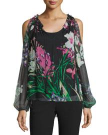 Mazy Cold-Shoulder Floral-Print Blouse, Black