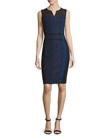 Cassandra Striped Tweed Sheath Dress, Black Multi