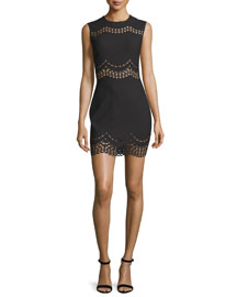 Merna Scalloped Lace-Inset Mini Dress, Black