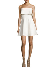 Melidna Strapless Popover Dress, Ivory
