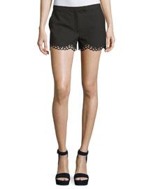 Hanlon Perforated Scallop-Hem Shorts, Black