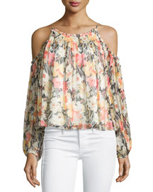 Maylin Cold-Shoulder Floral-Print Blouse, Multi Colors