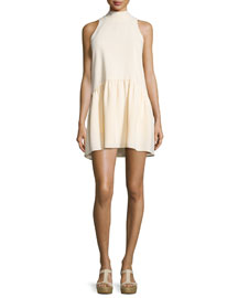 Trisha Sleeveless Mock-Neck Mini Dress, Almond