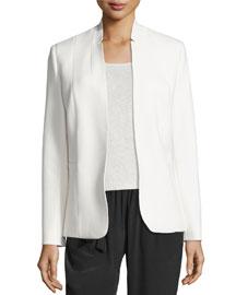 Danette Notched-Collar Stretch Blazer Jacket, Winter White