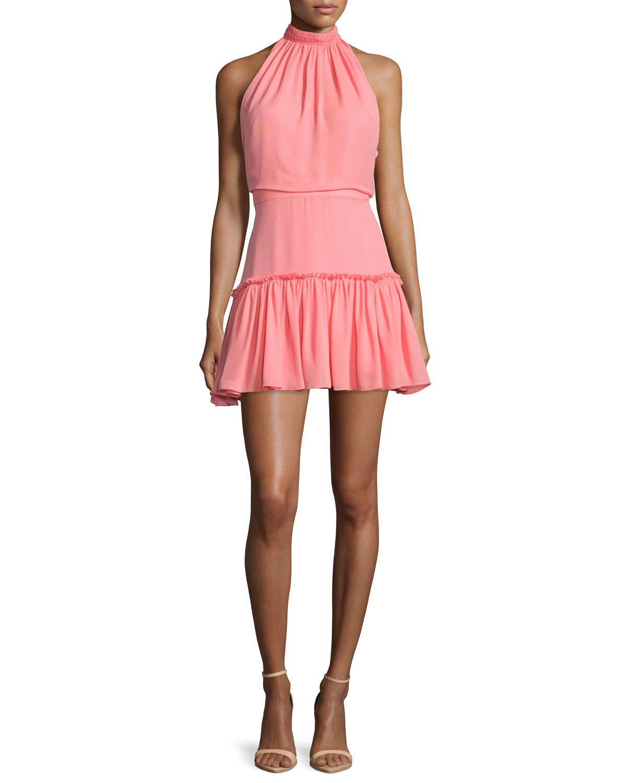 Elizabeth and James Carlita Halter-Neck Mini Dress, Size: 0, Tigerlily