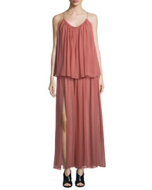 Mael Sleeveless Tiered Maxi Dress, Peach Nougat