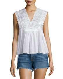 Sleeveless Embroidered Cotton Top, Snow